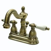 KINGSTON BATHROOM SINK FAUCET VINTAGE BRASS KB1603PL
