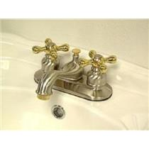 "Kingston Brass KB609X Victorian 4"" Centerset Bathroom Sink Faucet - Satin Nickel With Brass Trim"