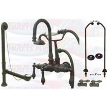 Kingston Brass CCK7T5-DO Oil Rubbed Bronze Clawfoot Tub Faucet Kit With Drain, Supplies & Stops