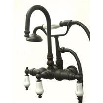 "Kingston Brass 3-3/8"" Center Wall Mount ClawFoot Tub Filler & Hand Shower Oil Rubbed Bronze CC9T5"