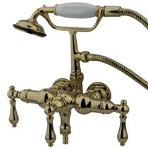 "Kingston Brass 3-3/8"" Center Wall Mount ClawFoot Tub Filler & Hand Shower Polished Brass CC19T2"