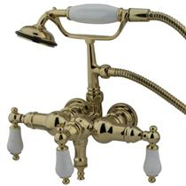 "Kingston Brass 3-3/8"" Center Wall Mount ClawFoot Tub Filler & Hand Shower Polished Brass CC23T2"