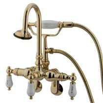 "Kingston Brass 3-3/8"" - 9""Center Wall Mount ClawFoot Tub Filler & Hand Shower Polished Brass CC303T2"