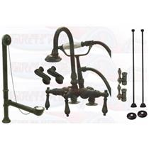 Kingston Brass CCK13T5-ABT1355 Deck Mount ClawFoot Tub-Shower Mixer Faucet Kit - Oil Rubbed Bronze