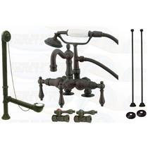 Kingston Brass CCK1013T5 Deck Mount ClawFoot Tub-Shower Mixer Faucet Kit - Oil Rubbed Bronze