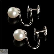 Traditional 14k White Gold Natural Pearl Screw Back Earrings 6.5mm 1.6g
