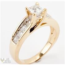 Stunning 14k Yellow Gold Princess Cut Diamond Engagement Ring W/ Accents 2.0ctw