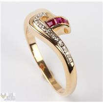Ladies 14k Yellow Gold Diamond & Baguette Cut Ruby Ring .30ctw
