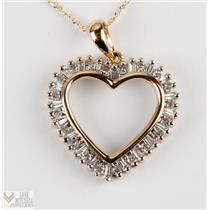 "Ladies 14k Yellow Gold Round & Baguette Cut Diamond Heart Pendant W/ 18"" Chain"