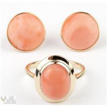Vintage 1950s Classy 14k Yellow Gold Pink Coral Cabochon Ring & Stud Earring Set