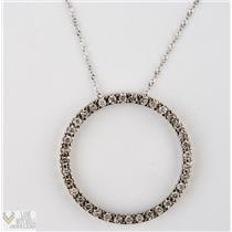 "Classic 14k White Gold Open Circle Diamond Pendant w/ 18"" Chain .72ctw"