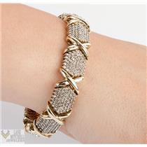 Heavy 10k White & Yellow Gold Diamond Cluster Bracelet / Earrings Set 4.5ctw