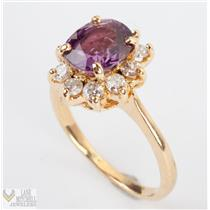 14k Yellow Gold Pink / Purple Tourmaline Ring w/ Diamond Halo Accents 2.3ctw
