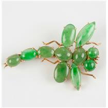 Unique Vintage Circa 1920's 18k Rose Gold Jadeite Dragonfly Brooch