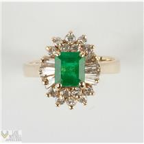 Ladies 14k Yellow Gold Emerald Cut Emerald Solitaire Ring W/ Diamond Accents
