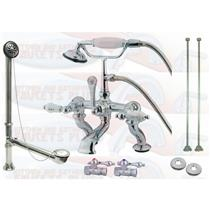 Kingston Brass CCK413T8 Adjustable Deck Claw Foot Tub Filler-Shower Mixer Kit - Satin Brushed Nickel