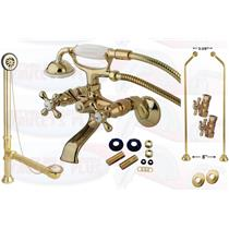 POLISHED BRASS CLAWFOOT TUB FAUCET KIT - CCK265PB-DO DOUBLE OFFSET