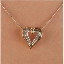 "14k Yellow & White Gold Round Cut Diamond Open Heart Pendant W/ 18"" Chain"