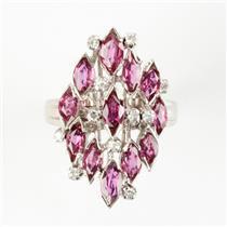 Ladies Vintage 1960's 14k White Gold Ruby & Diamond Cocktail Ring 6.33ctw