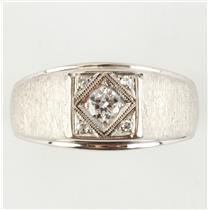 Men's 14k White Gold Diamond Solitaire Signet Ring W/ Diamond Accents .22ctw