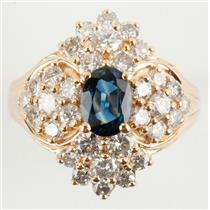 Ladies 14k Yellow Gold Oval Cut Sapphire & Diamond Cocktail Ring 2.60ctw