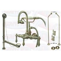 Kingston Brass CCK7T8-DO Satin NickelClawfoot Tub Faucet Kit With Drain, Supplies & Stops