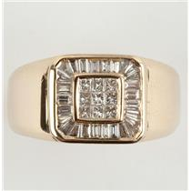 Men's 14k Yellow Gold Baguette & Princess Cut Diamond Signet Ring 1.20ctw