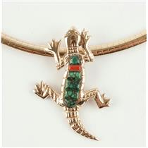 Unique 14k Yellow Gold Lizard Inlay Turquoise & Coral Pendant/Slide Custom Made