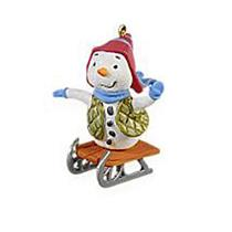 Hallmark Keepsake Miniature Ornament 2009 Frosty Rider - Snowman on Sled QXM9022