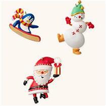 Hallmark Miniature Ornaments 2008 Santa's Merry Crew - Santas Set of 3 - #QP1141