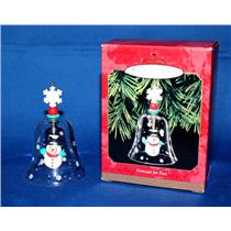 Hallmark Keepsake Ornament 1999 Forecast For Fun - Snowman Glass Bell - #QX6869