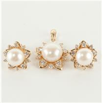 Ladies 10k Yellow Gold Pearl & Cubic Zirconia Earring / Pendant Set .90ctw