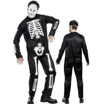 Adult Male Skeleton Jumpsuit Costume and Mask