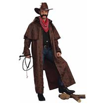 Tex Adult Costume Brown Leather Look Duster Coat