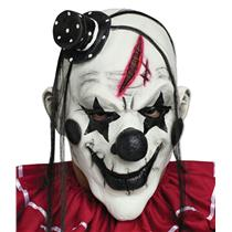 Black and White Horror Clown Adult Mask with Hair