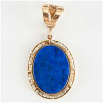 Ladies Vintage 1940's 14k Yellow Gold Oval Cut Lapis & Pearl Pendant