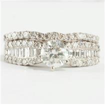 Ladies 14k White Gold Diamond Solitaire Engagement Ring Set W/ Accents 1.75ctw