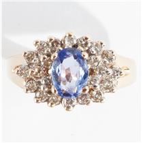 Ladies 14k Yellow Gold Oval Cut Tanzanite & Diamond Cluster Ring 1.2ctw