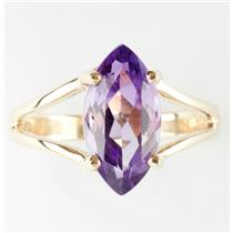 "Ladies 10k Yellow Gold Marquise Cut ""A"" Amethyst Solitaire Ring 1.6ct"
