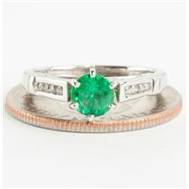 "Ladies 14k Yellow Gold ""AA"" Emerald Solitaire Engagement Ring W/ Accents .82ctw"
