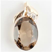 Custom Made 14k Yellow Gold Oval Cut Smokey Quartz & Diamond Pendant 24.2ctw