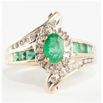 Ladies 10k Yellow Gold Oval Cut Emerald & Diamond Cocktail Ring 1.06ctw
