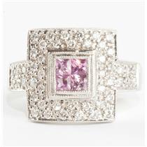 Ladies 18k White Gold Square Cut Pink Sapphire & Diamond Cocktail Ring .80ctw