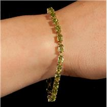 "Ladies 10k Yellow Gold Oval Cut ""AA"" Peridot Tennis Bracelet 6.5ctw"