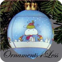 1984 Peanuts - Light Blue Satin Ball - QX2521 - NO BOX
