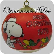 1979 Peanuts - Time to Trim - White Satin Ball - QX2027 - NO BOX