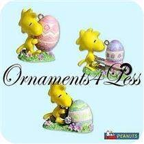 2005 Joyful Garden - Set of 3 Peanuts Ornaments - QEO8252 - SDB