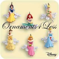 2006 Disney Snowflakes - Set of 6 Miniature Ornaments - QXM3153