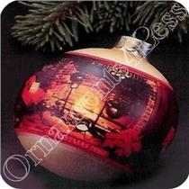 1980 Christmas at Home - Glass Ball - #QX2101-SDB HAS SOME AGE SPOTS AND PAINT CHIPS
