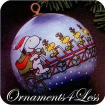 1982 Peanuts - Light Blue Satin Ball - #QX2006 - NO BOX